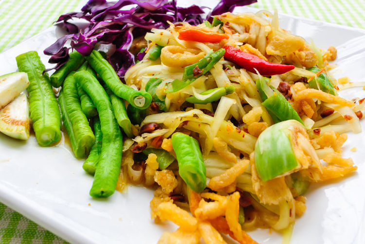 Chilli Close-up Coconut Palm Sugar Day Delicious Dried Shrimp Food Freshness Garlic Green Color Healthy Eating Indoors  Lime Long Beans No People Plate Purple Cauliflower Ready-to-eat Roasted Peanuts Thai Food Thai Salad With Raw Papaya Traditional Vegetable