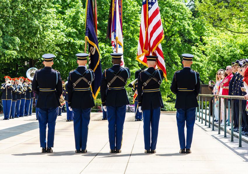 Arlington National Cemetery Armed Forces Casual Clothing Culture Cultures Day Graveyard Heroes Honor Guard Leisure Activity Lifestyles Medium Group Of People Military Multi Colored Outdoors Police Respect Side By Side Soldiers Tomb Of The Unknown Soldier Tourism Travel Destinations Tree Up Close Street Photography Washington, D. C.