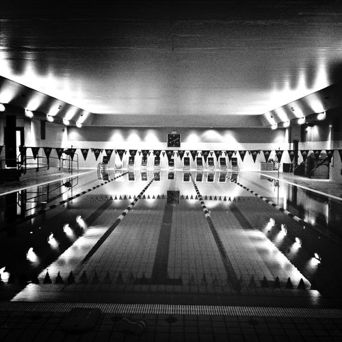A night at the swimming pool Blackandwhite Bw_collection Black And White Reflection
