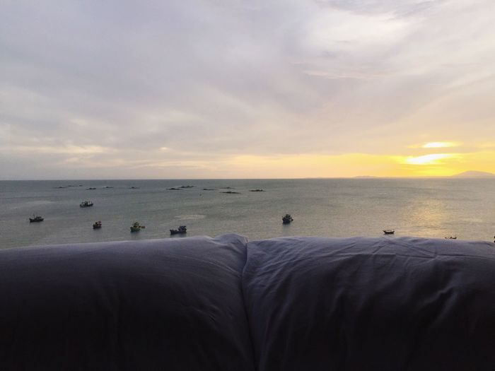 Sea Water Horizon Over Water Sky Sunset Beauty In Nature Scenics Beach Tranquil Scene Cloud - Sky Outdoors No People Bed Hotel View Vietnam Pillow Relaxing