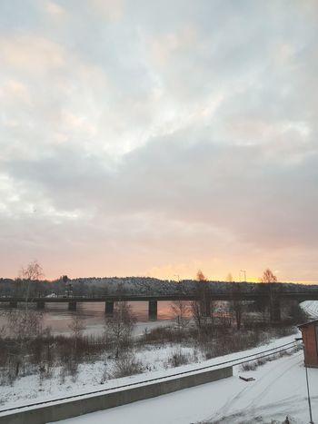 Winter Bridge - Man Made Structure Sky Sunset Cloud - Sky Outdoors Snow