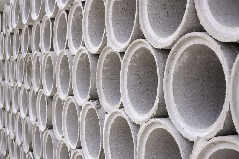 pipes of concrete,drainage Abundance Arrangement Backgrounds Close-up Day Design Detail Full Frame Geometric Shape In A Row No People Outdoors Part Of Repetition Side By Side White