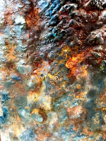 Full frame shot of Rusty texture on metal surface Full Frame Backgrounds Textured  No People Pattern Abstract Close-up Rusty Outdoors Water Metal Paint Multi Colored Orange Color Art And Craft Equipment Abstract Backgrounds Rough Day Weathered Nature