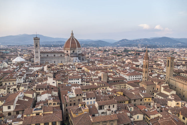 Aerial view of the historic center of florence at sunset