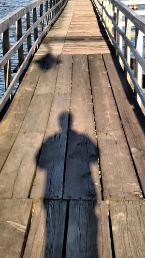 Wooden pier on river