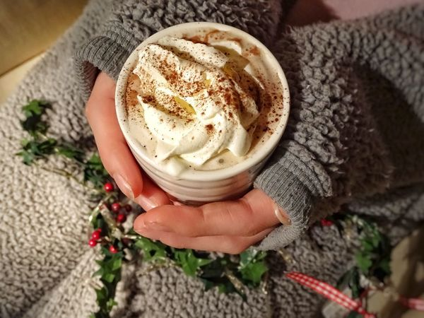 Human Hand Human Body Part Food And Drink Real People Indoors  Holding One Person High Angle View Lifestyles Food Women Close-up Freshness Sweet Food Hot Chocolate Wipped Cream Cream Hot Drink Hot Beverage