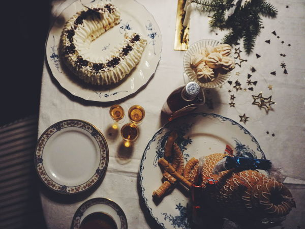 Indoors  High Angle View Table No People Close-up New Years Eve Food And Drink Party - Social Event New Years Resolutions 2016 Celebration Christmas Freshness New Year Celebrating Wineglass Alcohol Cake Cakes Dessert Desserts