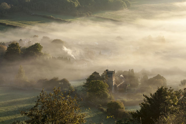 Compton Bishop from Crook Peak Church Mendip Hills Beauty In Nature Cloud - Sky Compton Bishop Dawn Day Environment Fog Idyllic Land Mist Nature No People Non-urban Scene Outdoors Plant Scenics - Nature Sky Tranquil Scene Tranquility Tree Village