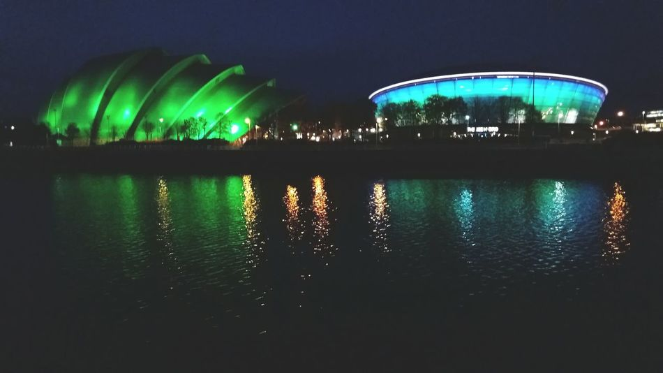 Reflection Night Illuminated Architecture Water Outdoors Building Exterior City No People Sky Cityscape Nature Beauty In Nature Astronomy Glasgow  Rangers Ibrox Celtic Football Museum