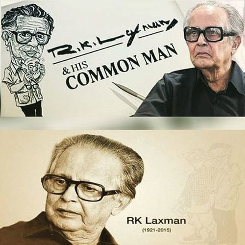 """You Will Be Remembered, Always... Rasipuram Krishnaswami Iyer Laxman 24 October 1921- 26 January 2015. """"I Drew objects that caught my eye outside the window of my room – the dry twigs, leaves and lizard-like creatures crawling about, the servant chopping firewood and, of course, and number of crows in various postures on the rooftops of the buildings opposite."""" —R. K. Laxman. Indian Cartoonist Commanman Yousaidit Thecommonman RKL RKLaxman Instapic Picoftheday Quotes"""