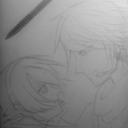 Drawing Megurine Luka and Kaito. I wish I could finish them till the end of the morning. ~_~ Sketch Vocaloid Megurine Luka Kaito Drawing Pencil Drawing Draw By Me Artist Art Mangaart