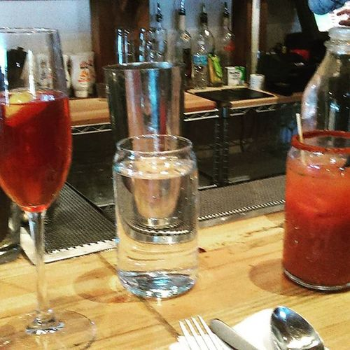 How to deal with a slight hangover...... Brunch, Bloody Mary and a prickly pear mimosa.. Yum. Prepandpastry