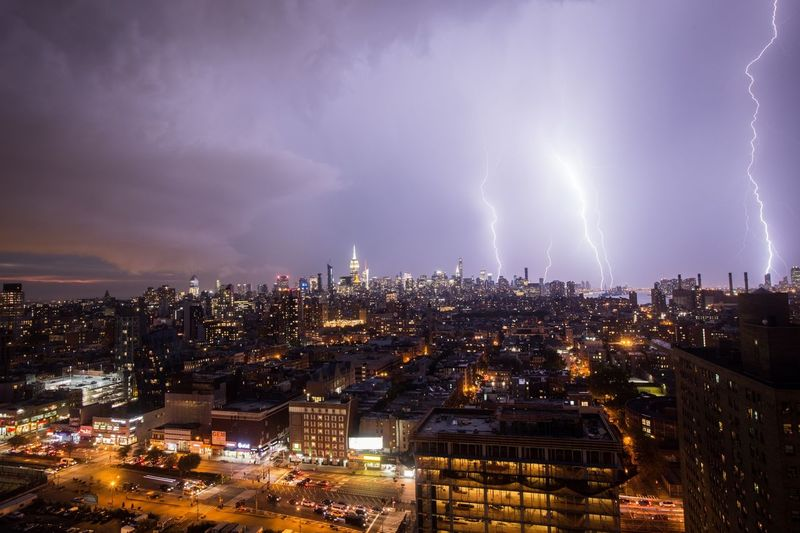 Lightning over NYC NYC Architecture Cityscape Landscape VSCO Photography City Storm Lightning Clouds And Sky