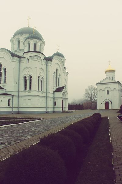 Dome Religion Architecture Spirituality Church Architecture Church Cross Place Of Worship Monestary Church Collection Polotsk Belarus Sky Foggy Day History Architecture Outdoors