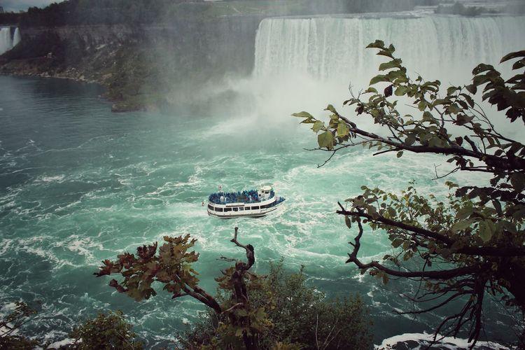 High Angle View Of Boat At Niagara Falls