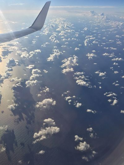 Clouds Sea View Wave Water Window Flying Airplane Nature Beauty In Nature Aerial View Magic Moments Magic Airplane Wing Journey Holiday♡ Mediterranean  EyeEmNewHere Miles Away