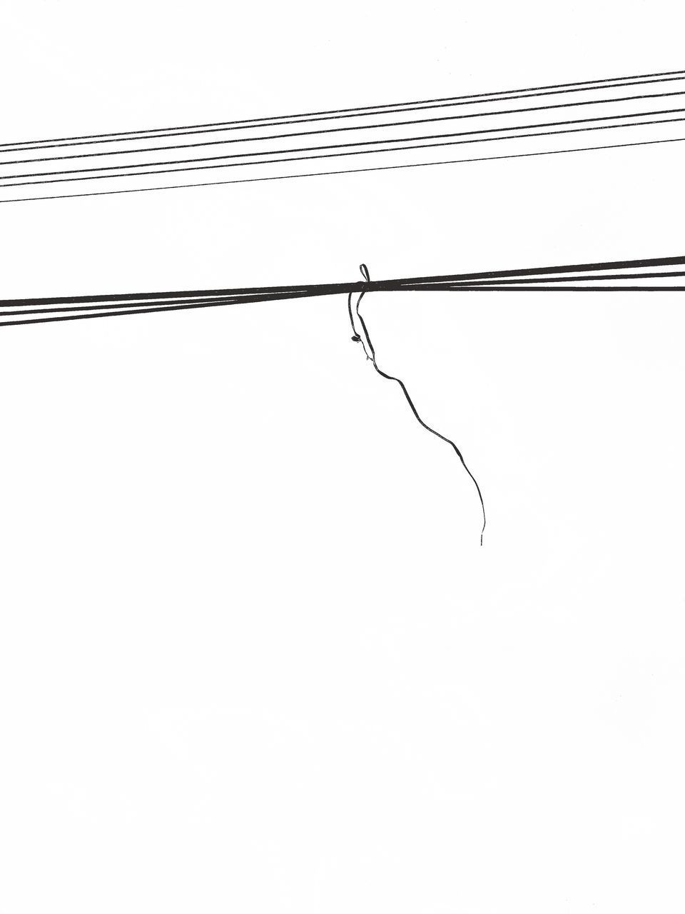 LOW ANGLE VIEW OF POWER LINES AGAINST WHITE BACKGROUND