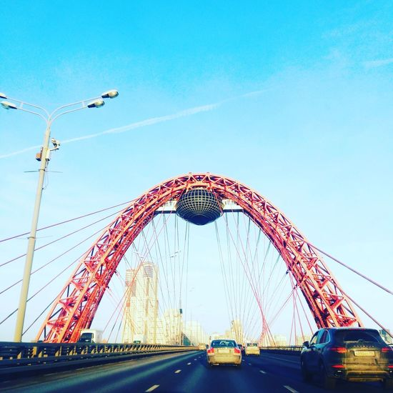 Bridge - Man Made Structure Sky Clear Sky Outdoors Architecture Sunshine Afternoon Moscow Россия москва russiaRussia россия Inmoscow Inrussia Transportation Motion No People Suspension Bridge Day
