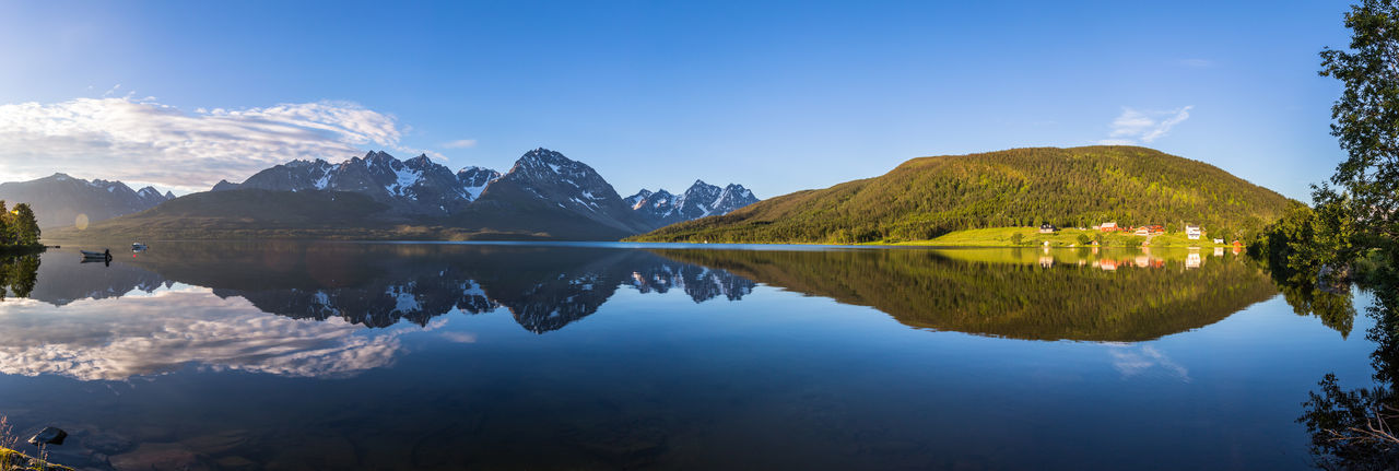 Beauty In Nature Blue Calm Cloud Day Idyllic Lake Landscape Majestic Mountain Mountain Range Nature No People Northern Norway Norway Outdoors Panorama Reflection Reflection Remote Scenics Sky Standing Water Tranquility Water