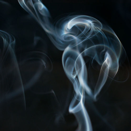 Abstract Black Background Blurred Motion Burning Flowing Incense Indoors  Long Exposure Luminosity Motion Pattern Smoke - Physical Structure Studio Shot Swirl White Color