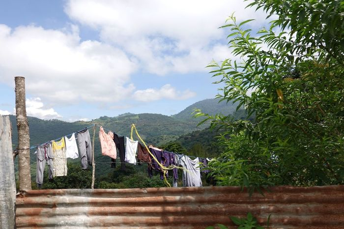 Laundry Sky Cloud - Sky Built Structure Architecture Plant Tree Building Exterior Fence Outdoors Boundary Nature Mountain