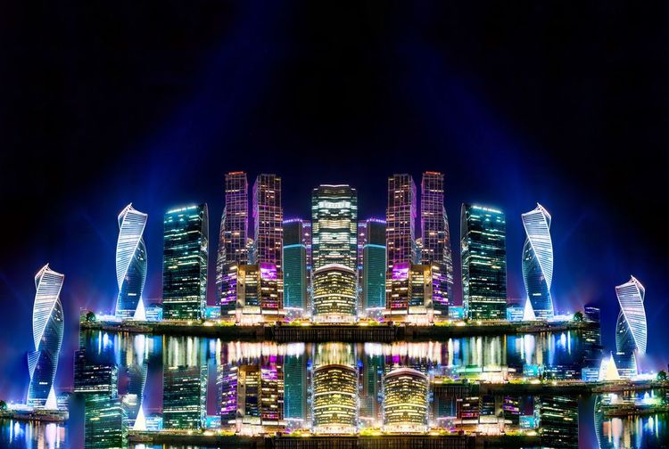 Illuminated Night Architecture Building Exterior Built Structure Sky Building No People Nature Modern Travel Destinations Skyscraper Tall - High Cityscape Outdoors Blue City Office Building Exterior Water Luxury