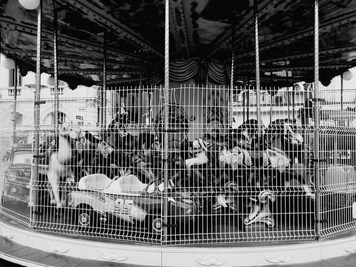 Empty carousel at amusement park