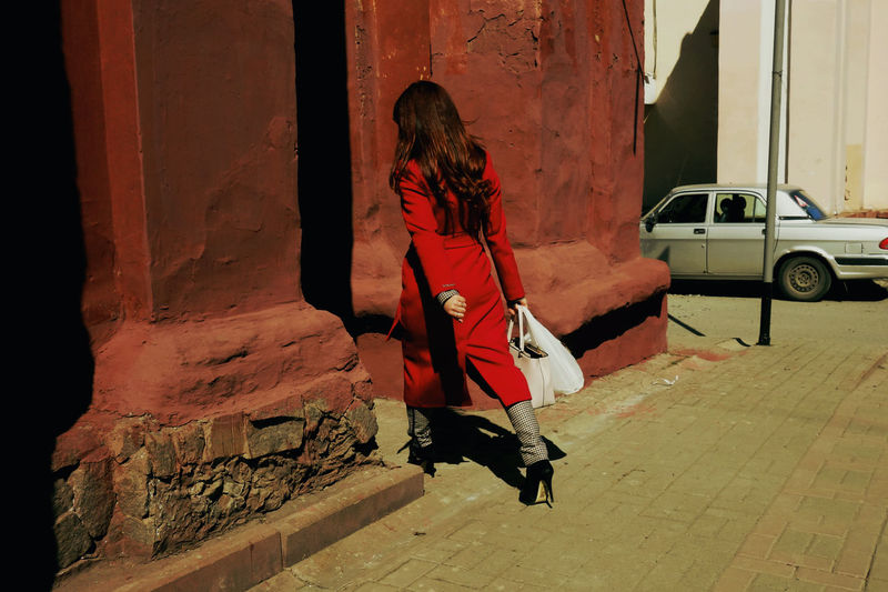 Girl #streetphoto Streetphotography Urban Red Shadow Full Length Moving Street Scene Building Walking