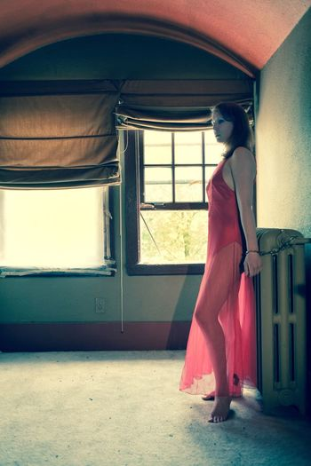 Young Adult Young Women One Person Indoors  Window Beautiful Woman Standing Full Length Lingerie Vintage Style Nightgown Day Red Abandoned Places Abandoned