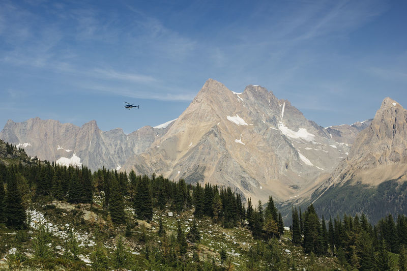 A helicopter over Jumbo Pass in the Purcell mountain range of the Kootenays, British Columbia, Canada. Beauty In Nature British Columbia Canada Cloud - Sky Day Environment Growth Hi Jumbo Jet Land Landscape Mountain Mountain Peak Mountain Range Nature No People Non-urban Scene Outdoors Plant Purcells Scenics - Nature Sky Tranquil Scene Tranquility Tree