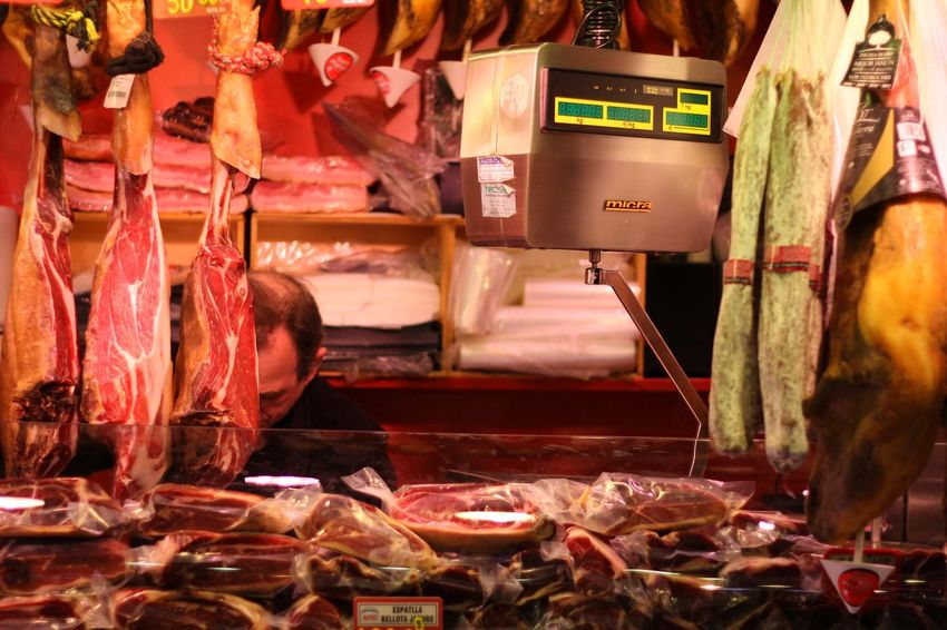 Abundance Choice Display Food Food And Drink For Sale Ham Ibérico Jamon Market Market Stall Meat Retail  Serrano Store Variation