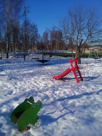 Playground Playtime Forkids  Forchildren Park Colors Bright Colors Inthesnow Nopeople Outdoors Froggy Fake Grass Football Field