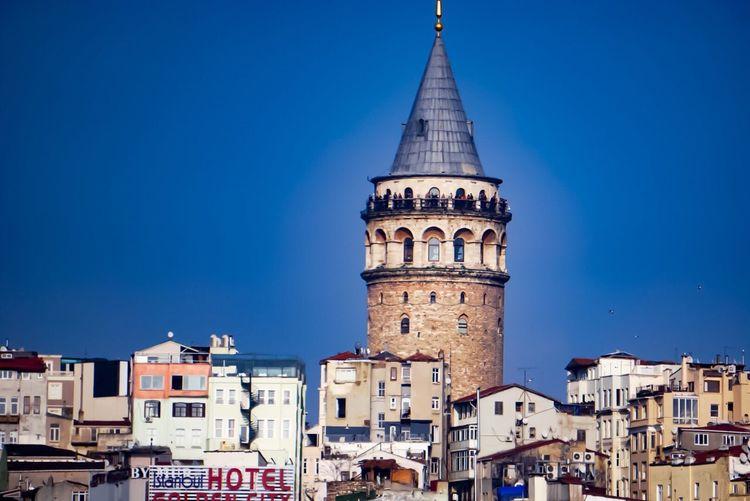 Galata Tower Galatakulesi Istanbul City Historical Urban Arial Shot Blue Wave Blue Sky Skyporn