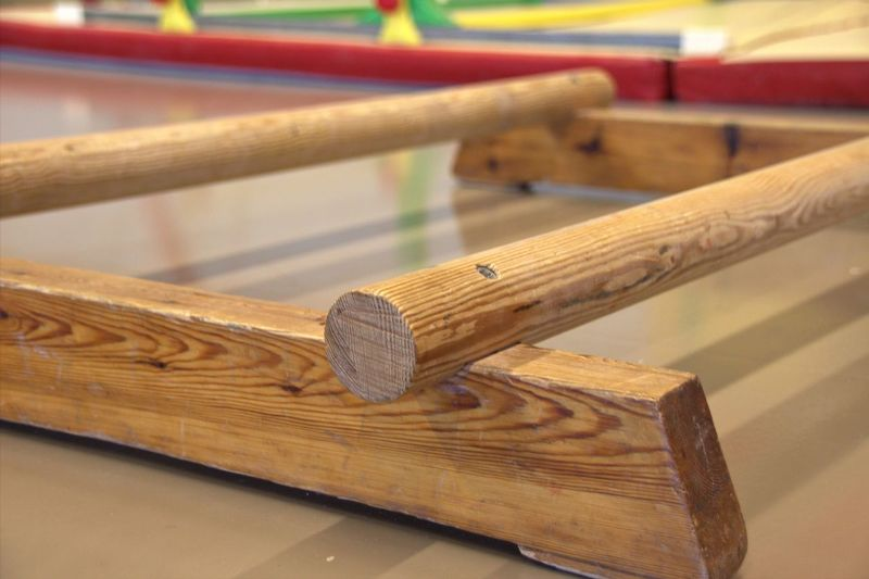 Close-up of piano keys on wooden table