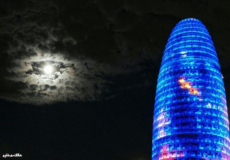 Barcelona. Cityscapes Barcelona Torreagbar Citynight Moon Luna Noche Barcelonainspira Barcelonalove Ilovebarcelona