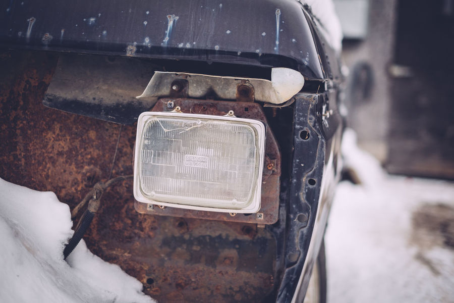 Broken Glass Close-up Cold Temperature Day Land Vehicle Mode Of Transport No People Old Van Old-fashioned Outdoors Selective Focus Snow Transportation Winter