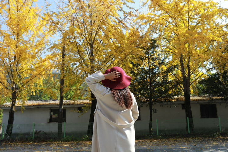 Full length of woman standing by trees in park during autumn