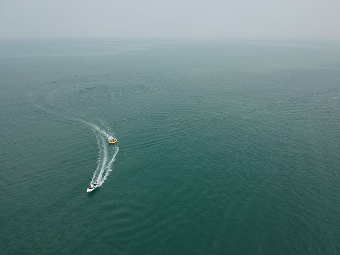 High angle view of sea against sky