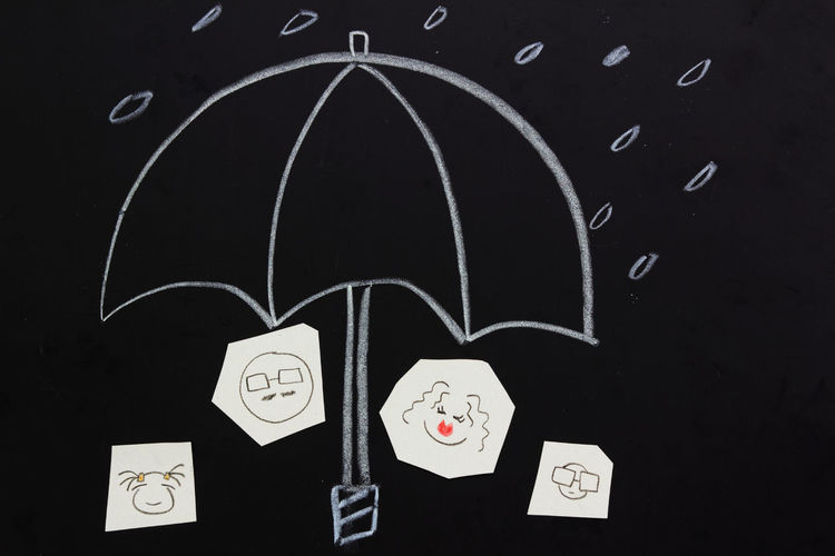 Protection and insurance concept Concept Conceptual Insurance Protection Rain Umbrella Family Accident Theft Life Insurance Life Blackboard  Communication Message Sketch Chalk Drawing