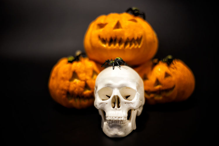 Close-up of halloween decoration against black background