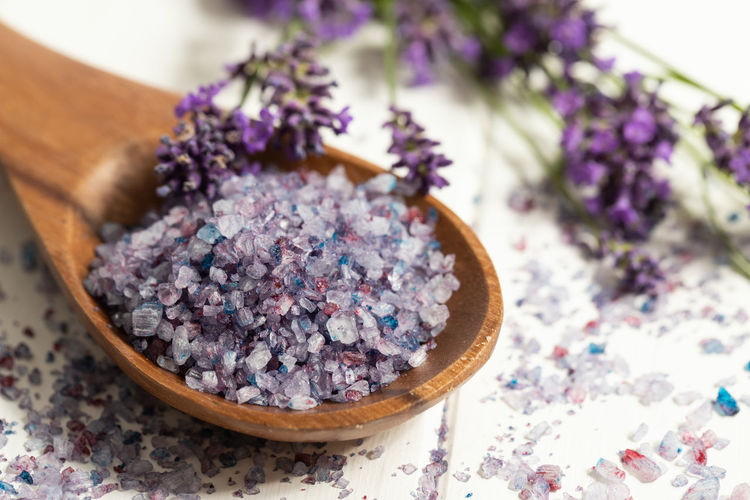 High angle view of lavender on table
