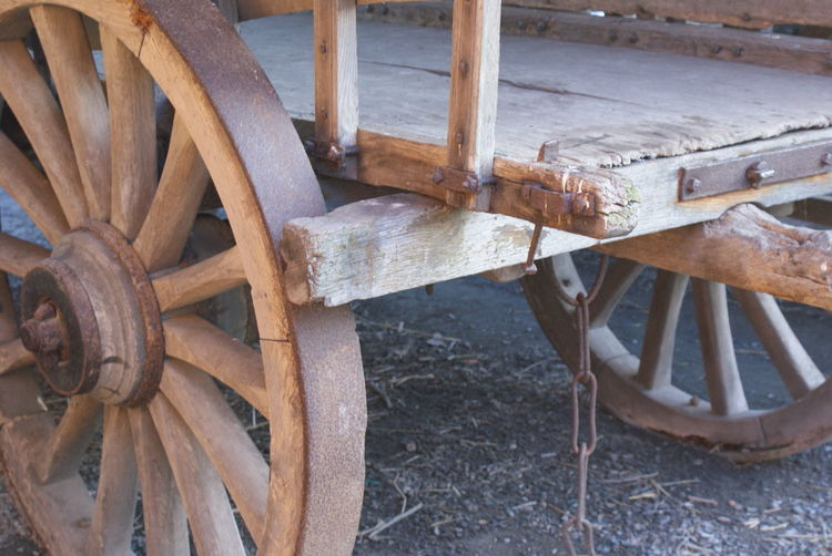 Close-Up Of Wooden Cart On Field