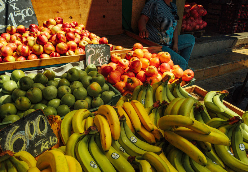 Valparaiso, Chile. March 2017. Abundance Arrangement Banana Choice Day Food Food And Drink Food Market Food Stall For Sale Freshness Fruit Healthy Eating Large Group Of Objects Market Market Stall Men One Person Outdoors People Real People Retail  Valparaiso, Chile Variation Vegetable