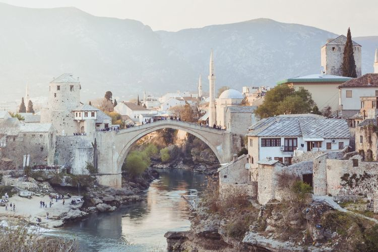 View of star most at sunset in mostar - bosnia and herzegovina