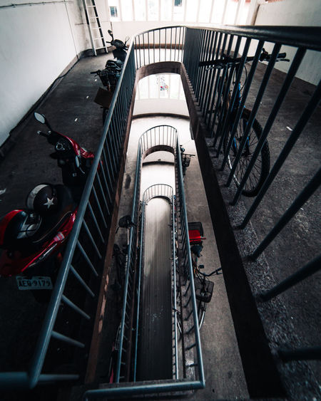 High angle view of staircase in city