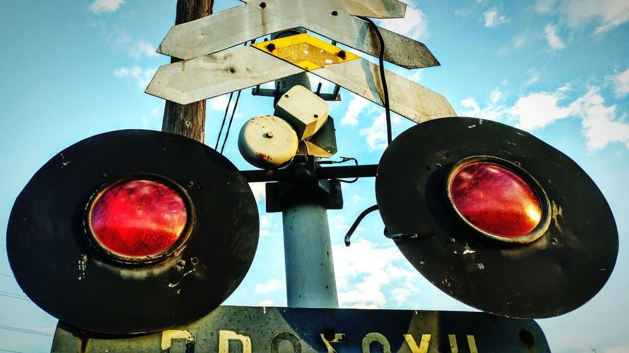 Sky Stoplight No People Railway Signal Close-up Outdoors Red Light Day Rail Transportation Railroad Track