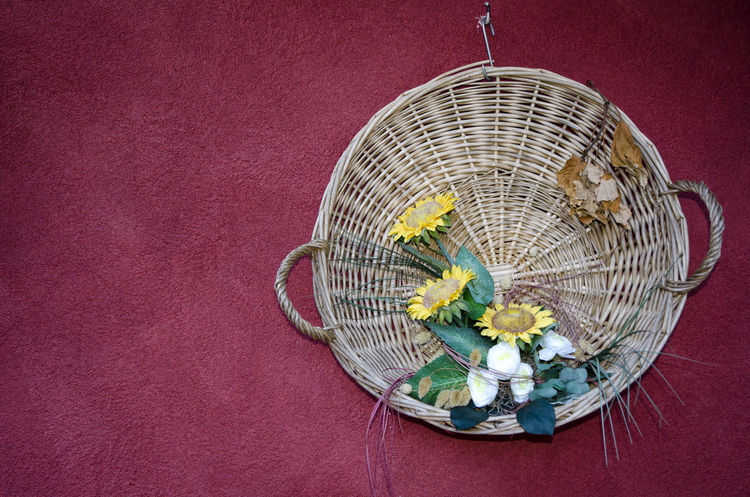 Basket with Flowers Hanging on a Wall Hanging Red Wall Basket Close-up Day Flower Hamper Leaning No People Yellow