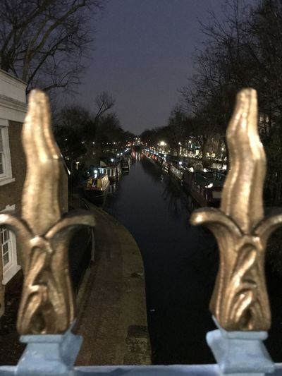 view of canal at Little Venice Bridge Bridge - Man Made Structure Canal Gilding Illuminated Night Reflection Water