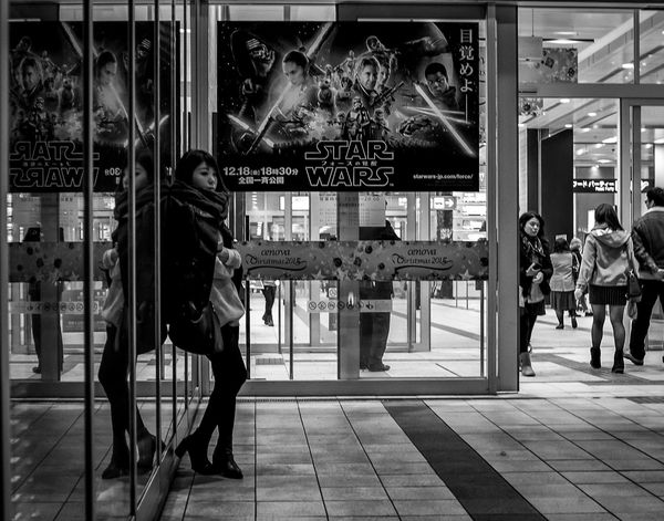Coming Soon Japan Japanese  Japan Photography Street Streetphoto_bw Streetphotography Blackandwhite Monochrome Fashion Style Street Fashion Candid Woman City Urban Downtown Poster Starwars FujiX100T Cooljapan