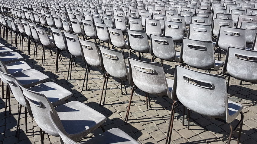 In front of the Peter's Basilica Chair Grey Vatican Papst Pattern Repetition Blackandwhite Vatikan Audience Pope Church Petersdom Dirty Holy Contrast